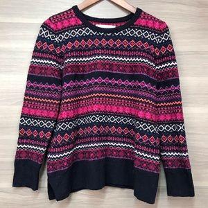 LOFT Pink Fair Isle Sweater